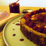 Cheesecake aux framboises et coulis de fruits rouges